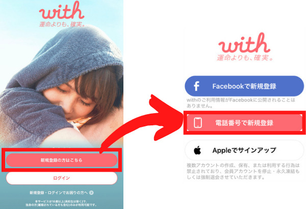 withの電話番号認証登録